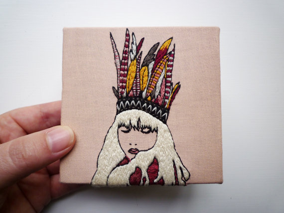 """Kimi"" by CheeseBeforeBedtime.  I absolutely love the idea of embroidery on canvas.  One of those ""Now, why didn't I think of THAT?"" ideas.  Thank god for creative folk!"